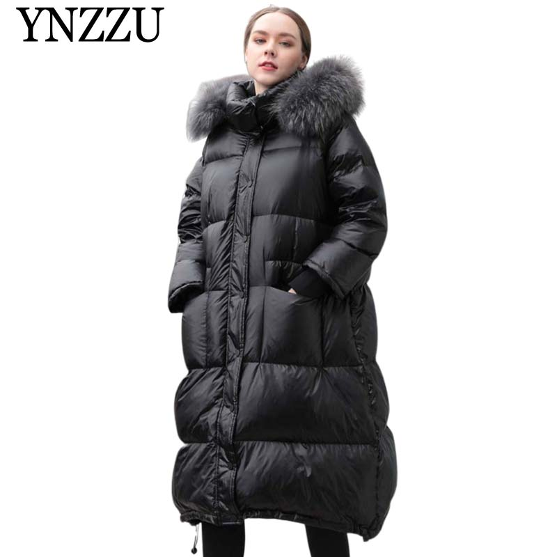 Black Raccoon Fur Collar Women Down Jacket 2019 Winter Thick Warm Female Long Down Coat Loose Oversize Hooded Outwear YNZZU O951