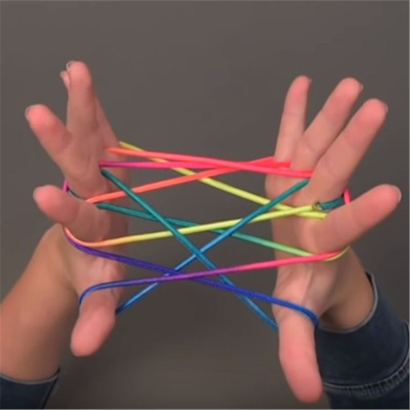 3PCS Kids Rainbow Colour Fumble Finger Thread Rope String Game Developmental Toy Color Rope