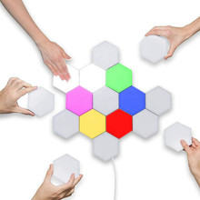 LED Touch Night Light Hexagonal Module Quantum Light Colorful Home Decoration Wall Light Lighting Creative Honeycomb Lamp