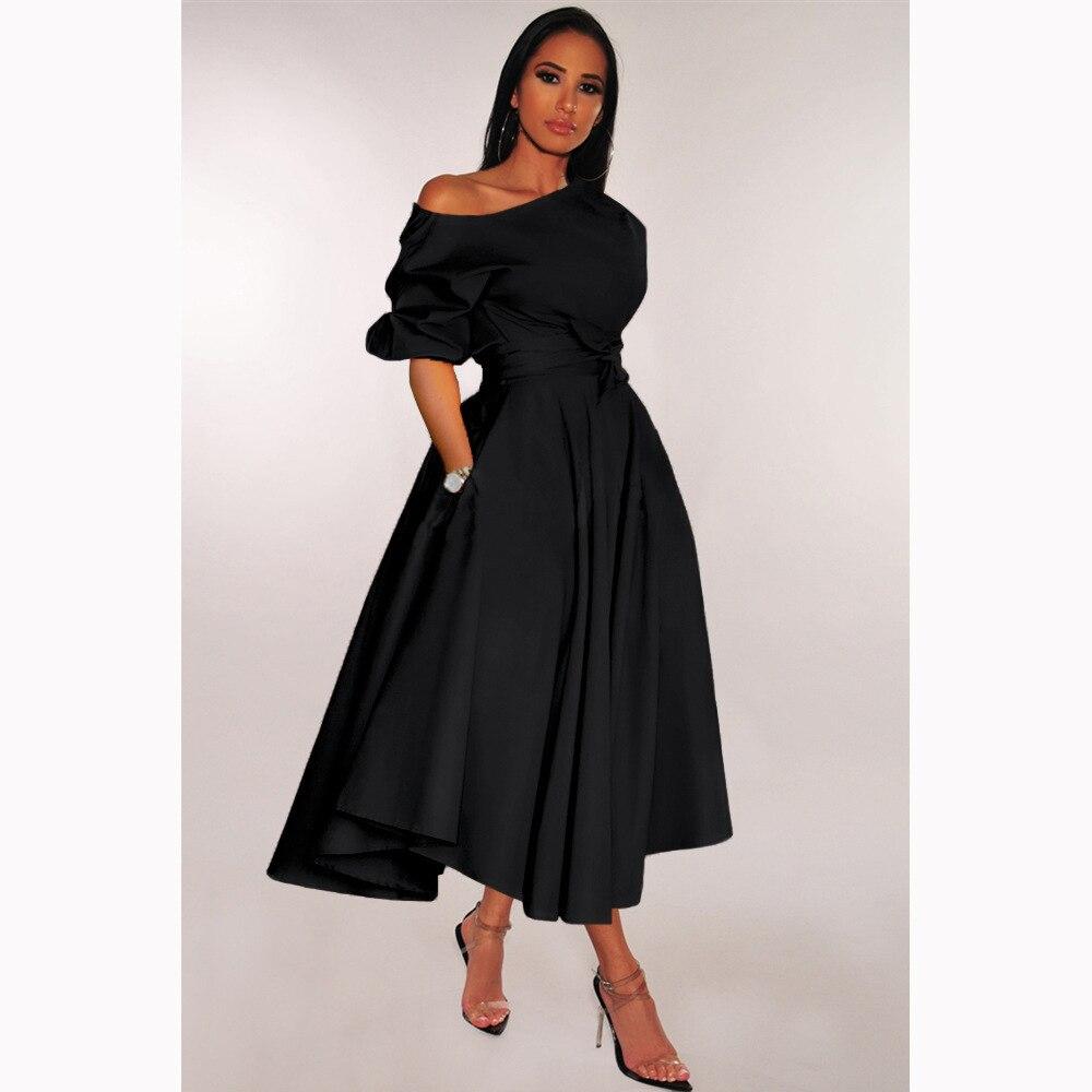 BGW Off Shoulder A Line Jersey Cocktail Dresses Solid Color Tea Length Vestidos Coctel Mujer 2020