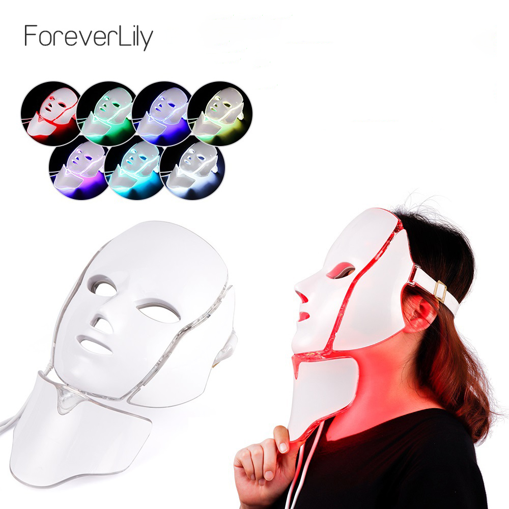 LED Facial Mask Beauty Skin Rejuvenation Photon Light 7 Colors Mask with Neck Therapy Wrinkle Acne