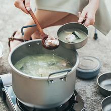 1pcs หม้อไทเทเนียม 6L ซุปหม้อทำอาหารปลอดสารพิษ Pan กลางแจ้ง Camping Hiking เดินทางล่าสัตว์ปิคนิค stockpot