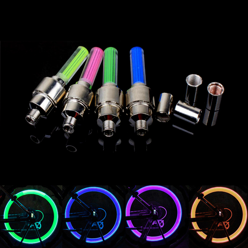 2Pcs Valve Stem LED CAP for Bike Bicycle Cycling Wheel Tire Light Spoke lamp US