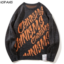 ICPANS Streetwear Cotton Wool Pullovers Sweater Men Fashion Print Letter Loose Oversized Male Sweaters 2019 Winter Autumn Cloth