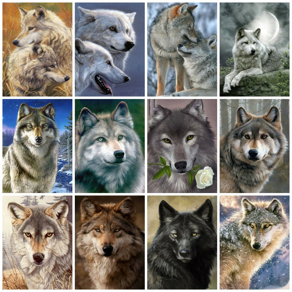 AZQSD Pictures Oil Painting By Numbers Wolf Arcylic Painting By Numbers Animal Painting Kits Unframed Decoration