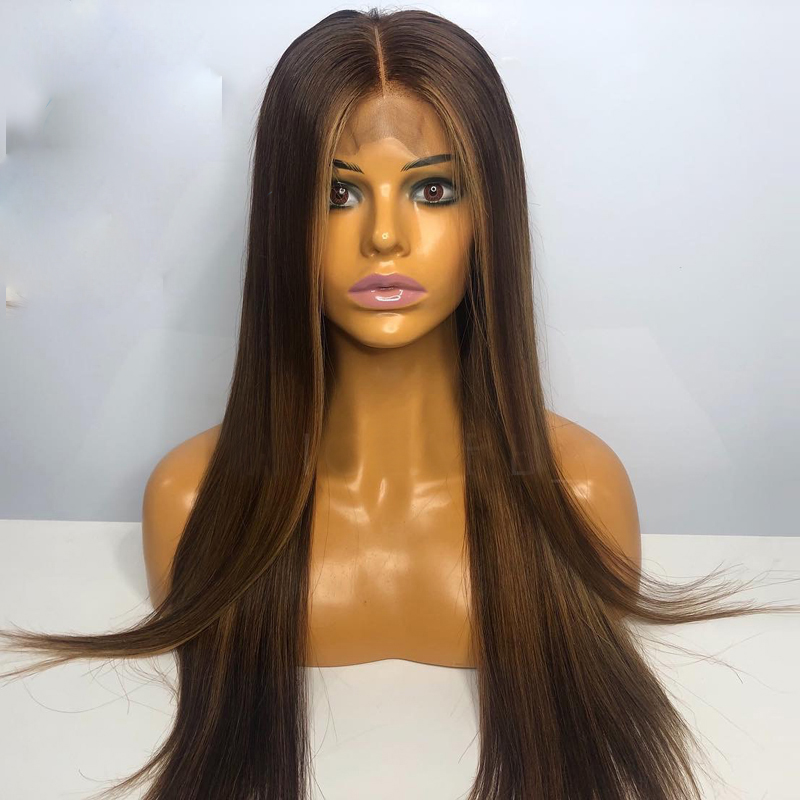 SimBeauty Mix Color Brown 13x4 Lace Front Wigs With PrePlucked Hairline Brazilian Straight Ombre Blonde Human Hair Wig Remy Hair
