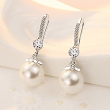 Pearl earrings  female white copper silver plating, 2020 new fashion high quality Earrings