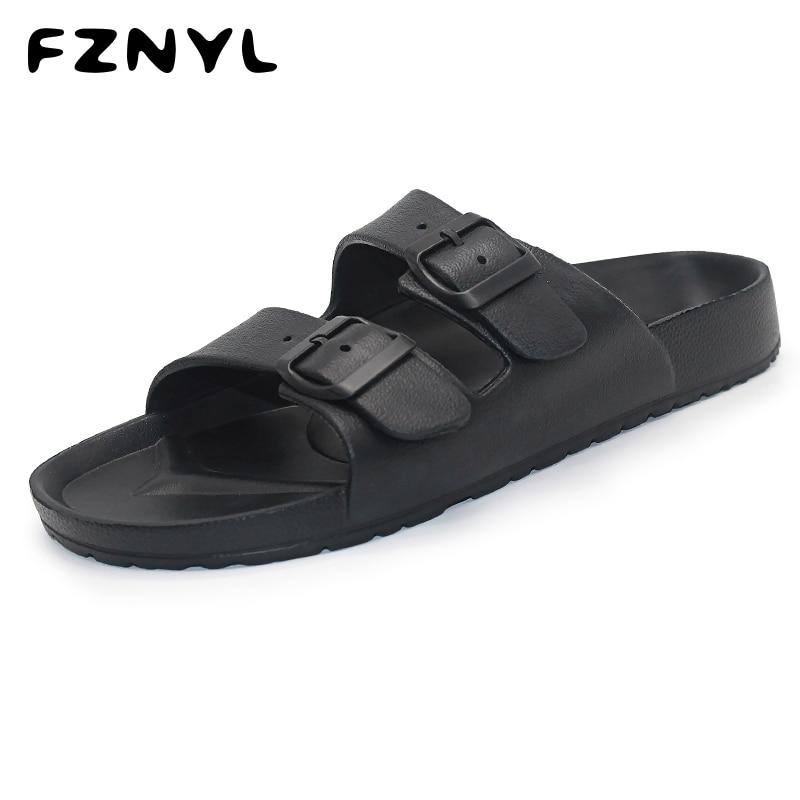 FZNYL Men Slippers EVA Non-slip Outdoor Beach Flip Flops 2019 Summer Casual Shoes Slides Black Sandal Plus Size 40-46