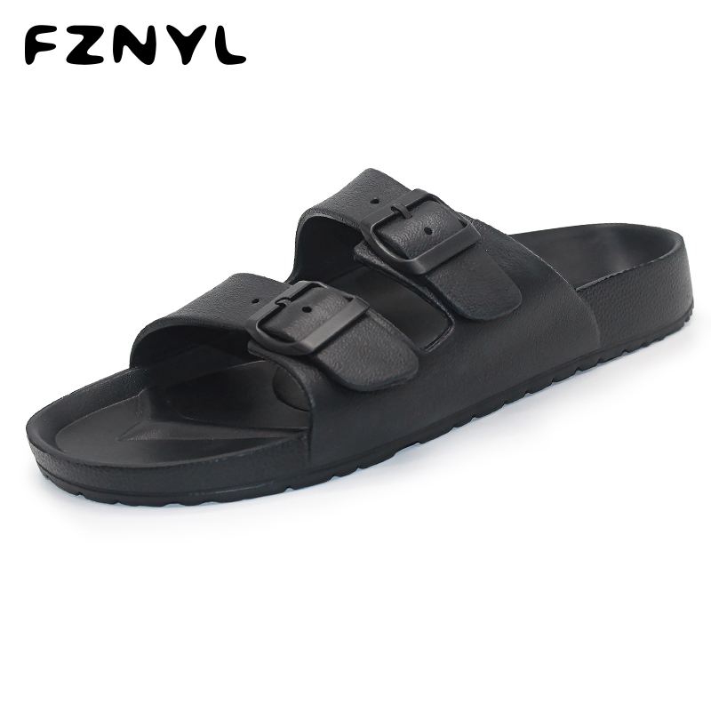 FZNYL Men Slippers EVA Non-slip Outdoor Beach Flip Flops 2019 Summer Causal Shoes Slides Black Sandal Plus Size 40-46