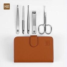 Huohou conjunto de ferramentas de cortar unhas, conjunto de cortador de unhas de aço inoxidável portátil para viagem