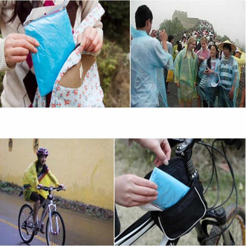 1 個使い捨て大人プラスチックレインコート緊急防水レインコートポンチョハイキングキャンプサイクリング屋外ピクニックフードレインウェア