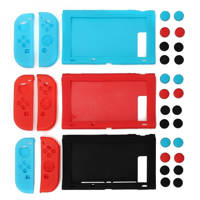 11 in 1 Silicone Case Cover + Joystick Cap For Nintend Switch Console & Joy-Con Game Accessories