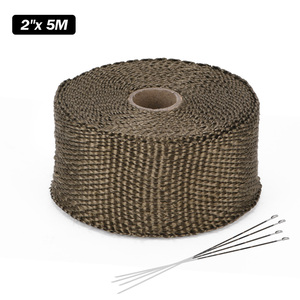 Image 2 - High Quality 5cm*5M 10M 15M Titanium/Black Exhaust Heat Wrap Roll for Motorcycle Fiberglass Heat Shield Tape with Stainless Ties