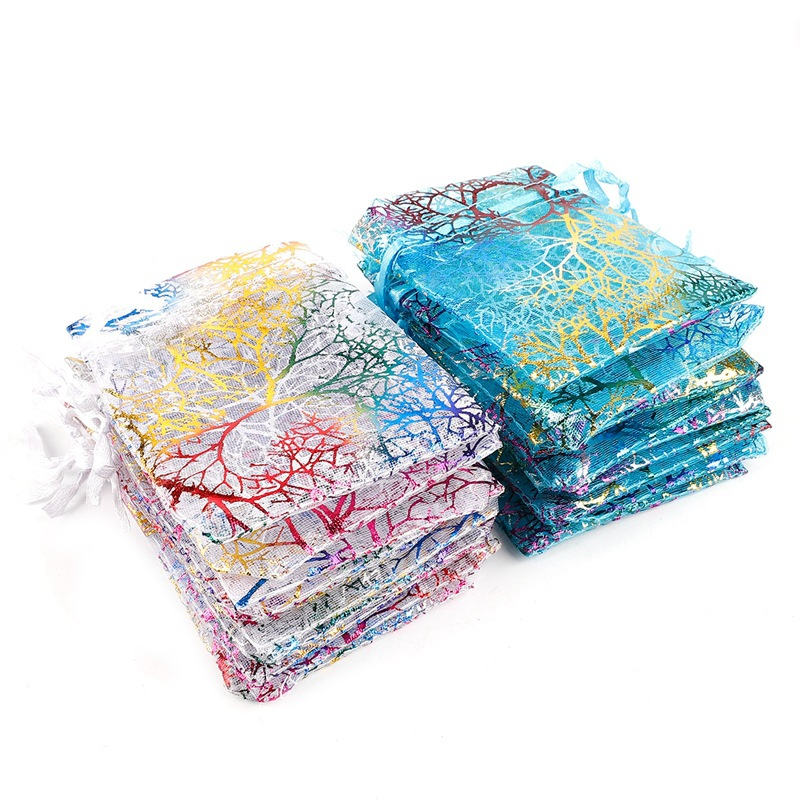 10pcs/lot Gold-stamped Colorful Coral Pattern Yarn Storage Bags 4 Size Drawable Organza Bags Candy/Gift/Jewelry Drawstring Pouch