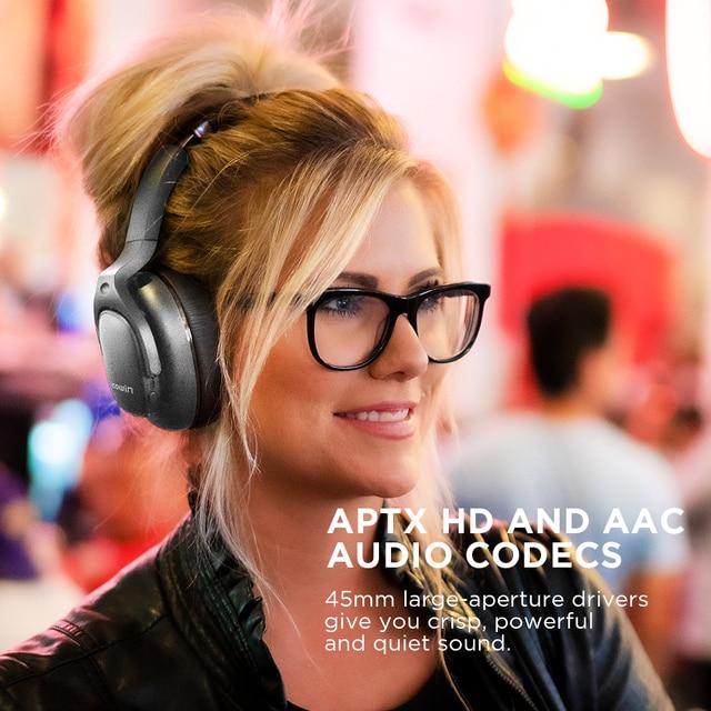 Cowin e9 active noise cancelling fones de ouvido bluetooth sem fio fone sobre a orelha com microfone aptx hd som 2