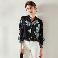 100% Высококачественная шелковая блузка для женщин повседневный