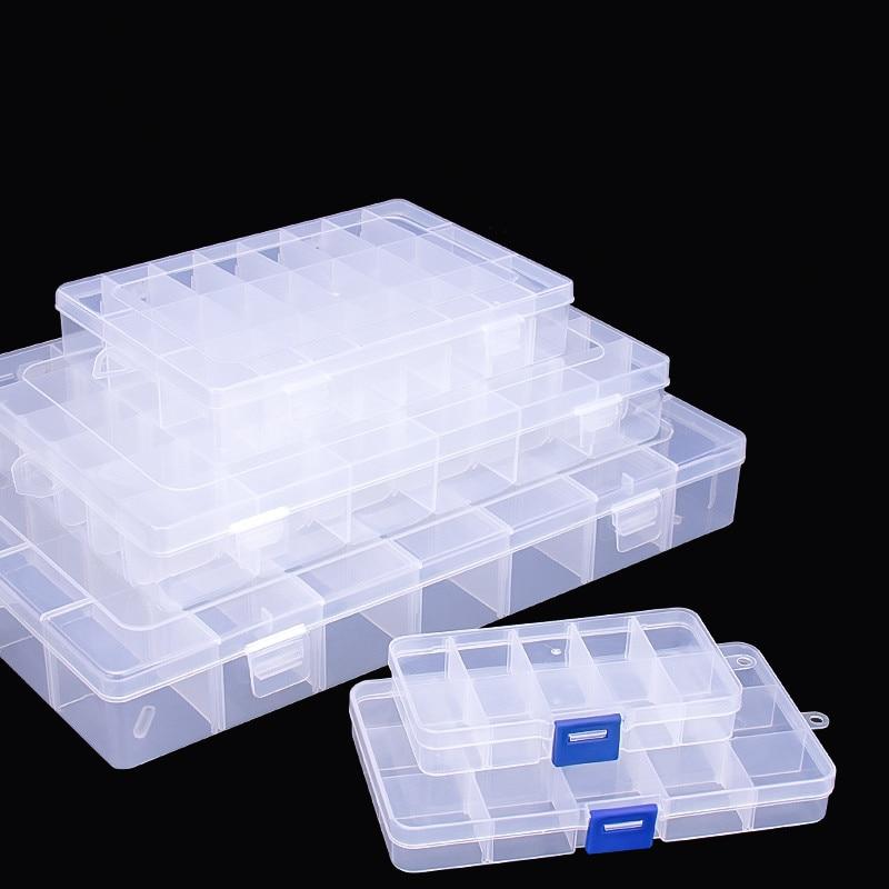 10/15/24 Grids Adjustable Compartments Plastic Transparent Organizer Jewel Bead Case Cover Container Storage Box Parts Screw Box