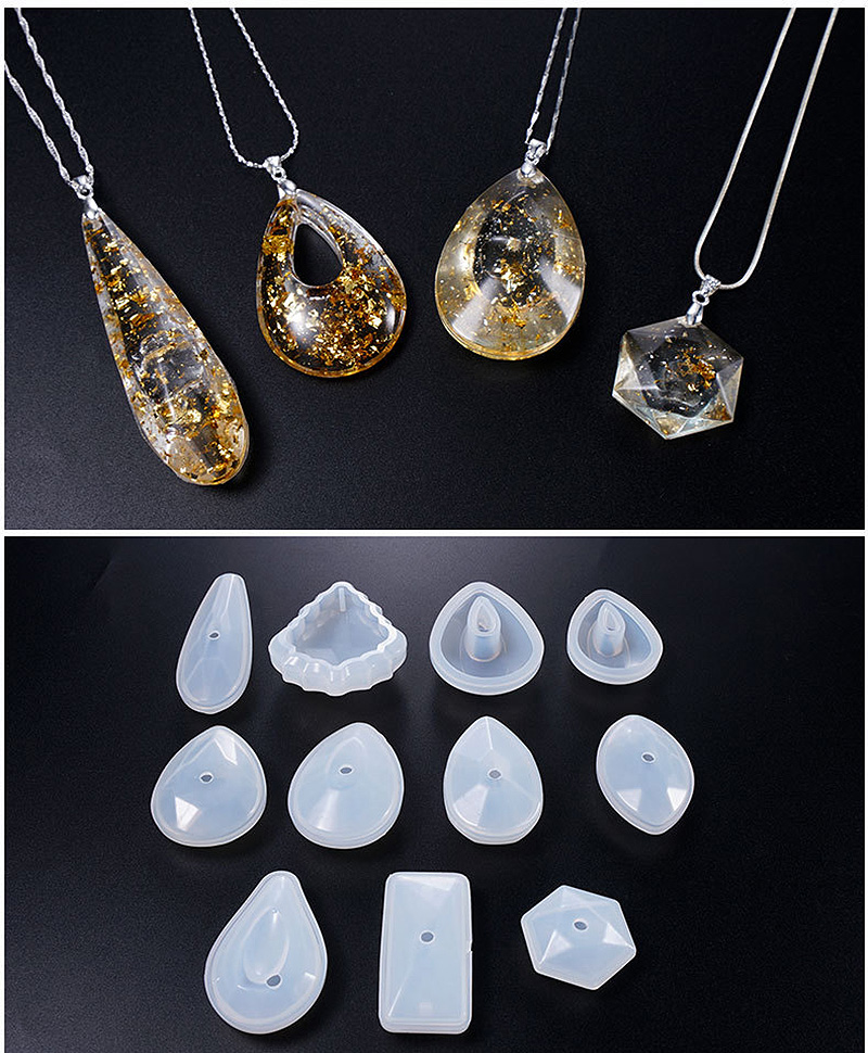 Free Shipping Silicone Mold Solid UV Resin DIY Jewelry Making Pendant Epoxy Resin Crystal Necklace Bracelet Earrings Geometric