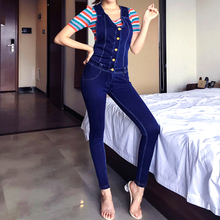 LIBERJOG kadın sapanlar kot mavi gri Denim kalem pantolon kadın artı boyutu ince streç tulum tulum İlkbahar sonbahar moda