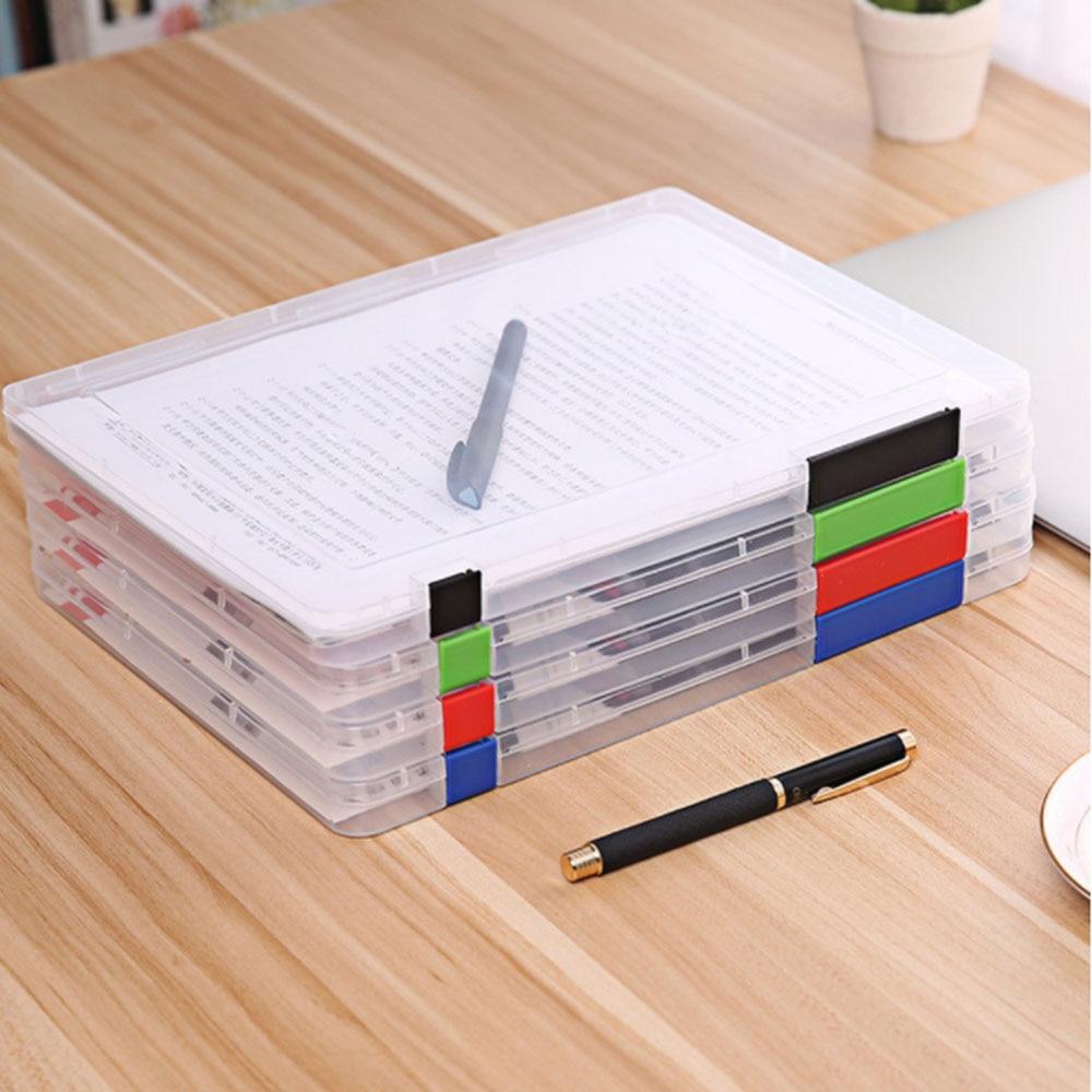 Portable A4 Transparent Storage Box Clear Plastic Document Paper Filling Case File Waterproof Storage Box Paper Organizers