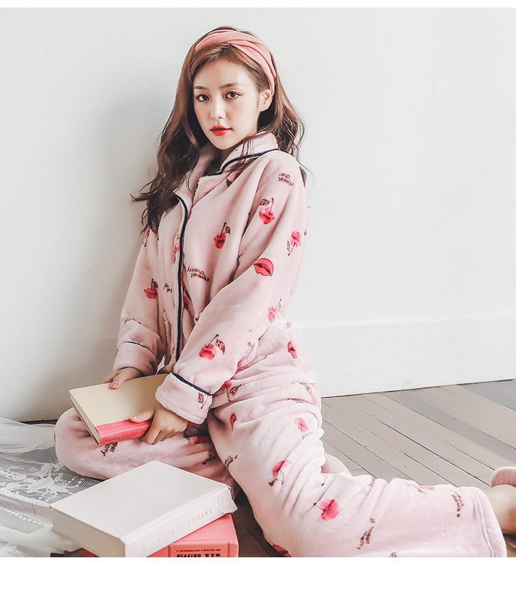 Plus Size 3XL 4XL 5XL Pyjamas women winter new Korean kawaii pink coral fleece warm pajama set thick flannel pijama home service 173