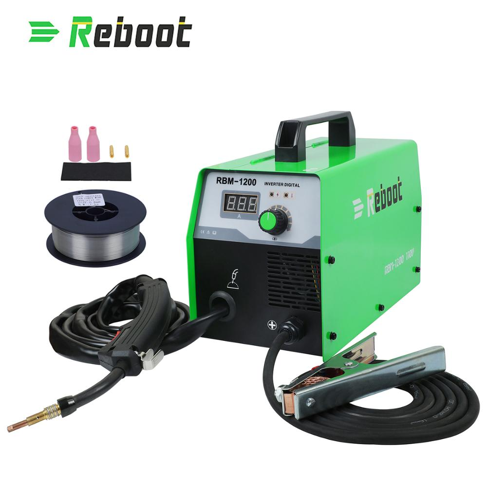 Restart Mig spawacz MIG 120 220V nie spawarka ze stali gazowej drut rdzeniowy inwerter spawarki narzędzia do użytku domowego spawanie Mig