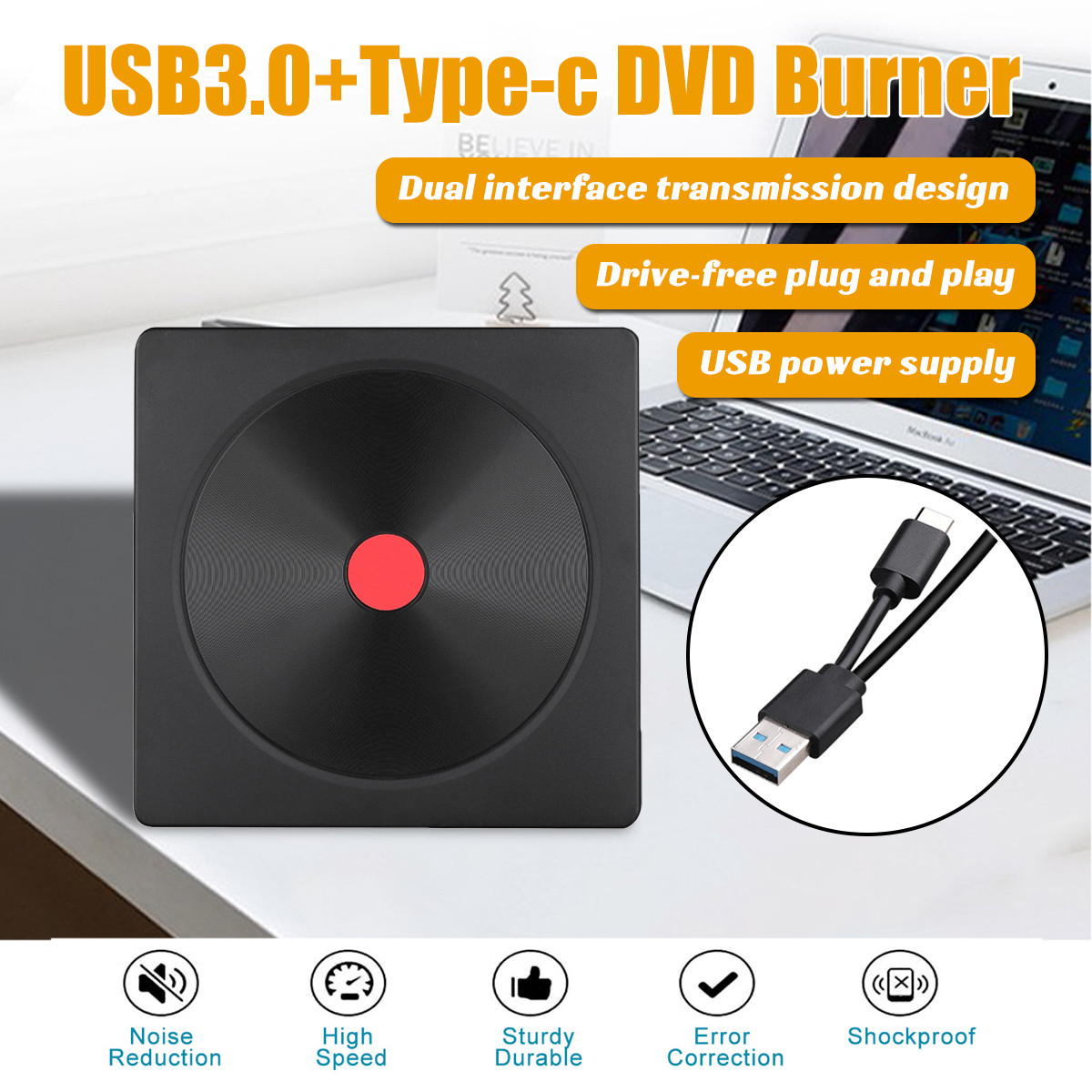 USB 3.0 Type-C High Speed External CD/DVD Drive Burner Polished For Mac/Windows 10/Laptop/PC Optical Drive Player Writer image