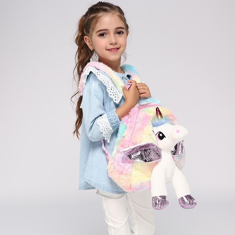 Baby Girl Unicorn Fur Backpack Cute Children Zipper Schoolbag Mini Kid Toy Doll Backpack For Kidergarten New Girl Plush Doll Bag 6