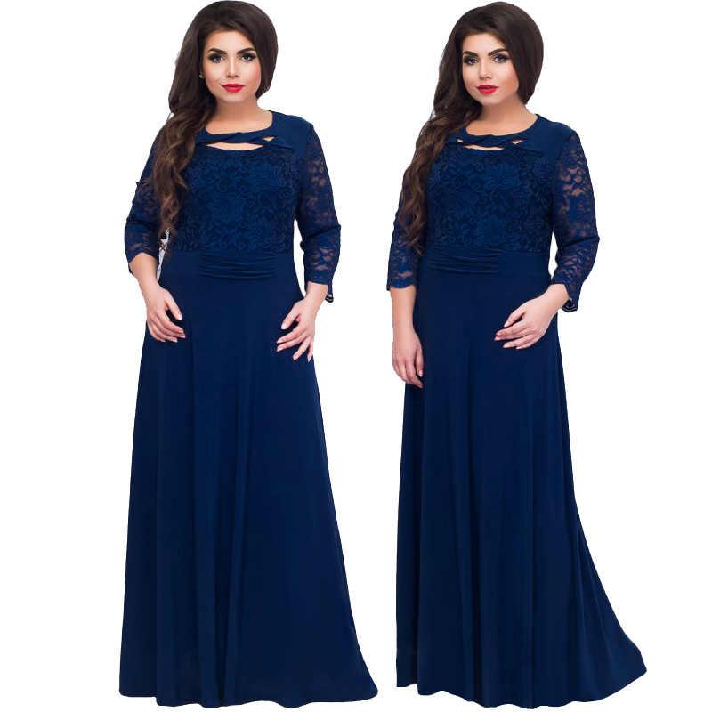 Wisalo 5XL 6XL 2019 новое женское длинное платье макси осень зима большие размеры s кружевное лоскутное платье плюс размер сексуальные черные вечерние платья