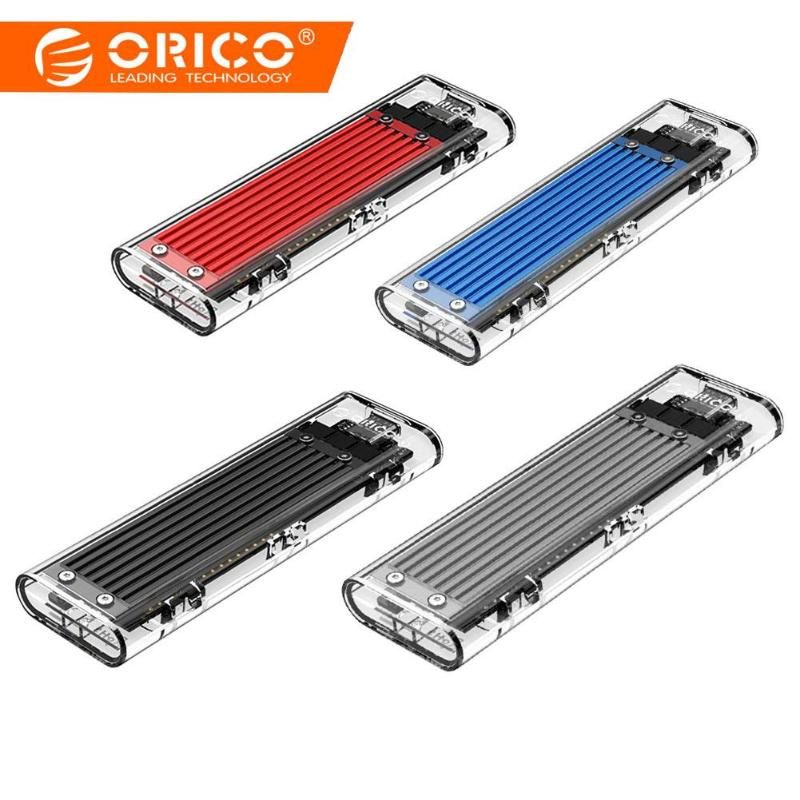 ORICO Transparent NVME M.2 SSD Case High Speed 10Gbps Maxim USB3.1 External Solid State Hard Disk Box Portable Enclosure Case