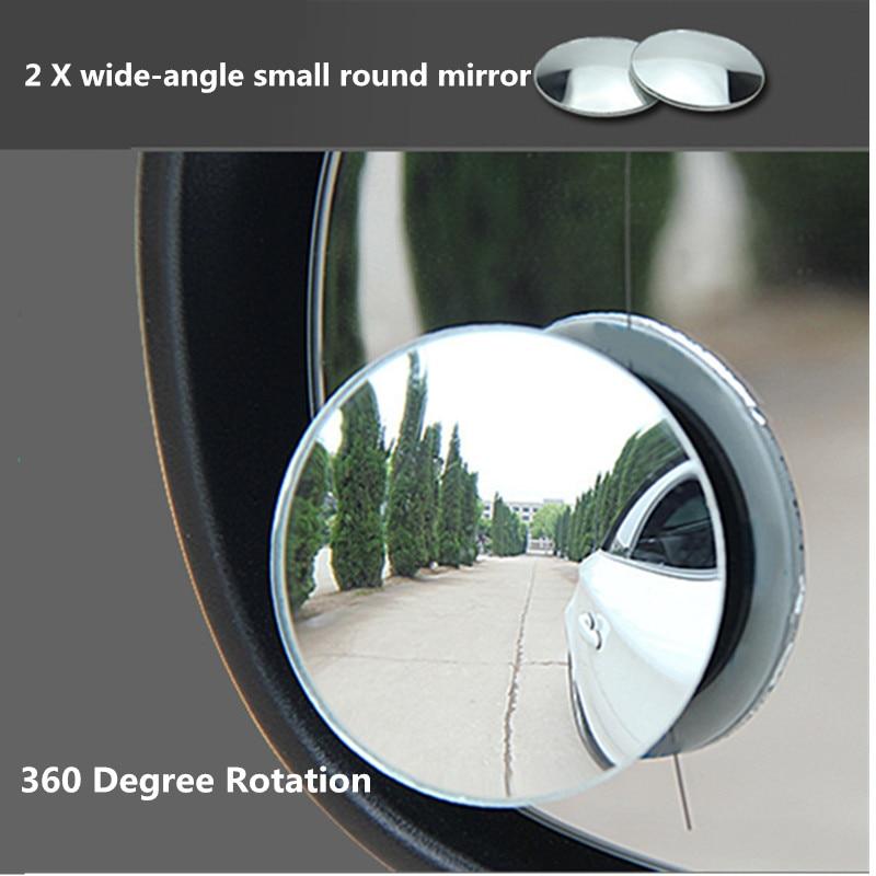 2PCS Adjustable 360 Degree Universal Blind Spot Mirror Car Reverse Frameless Ultrathin Wide Angle Round Convex Rear View Mirror