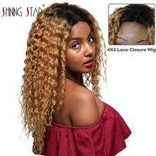 4*4 парик с Омбре блонд кружева человеческих волос парики предварительно сорвал перуанская волна кружева парики 1B/27 Nonremy человеческих волос парики