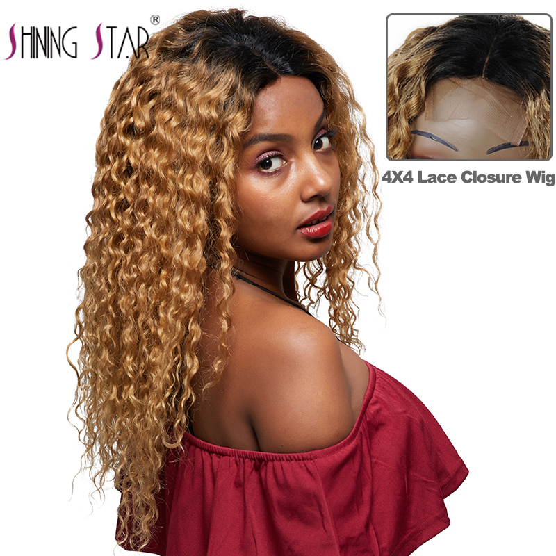 4*4 Lace Closure Wigs Ombre Blonde Lace Human Hair Wigs Pre Plucked Peruvian Water Wave Lace Wigs 1B/27 Nonremy Human Hair Wigs