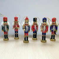 Wood Innovative Gift 6 Pcs/set  Crafts Handmade Nutcracker Figurines Miniatures Painted Nutcracker Puppets Home Decor