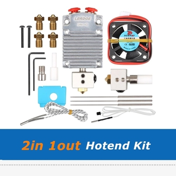 2IN1-V2 Hontend 2IN 1Out Hotend Kit Set 0.4mm/1.75mm Nozzle Dual Color Switching With Heater Cable For DIY 3D Printer Parts