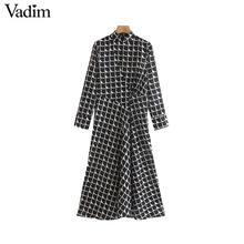 Vadim vrouwen elegante zwarte print midi jurk met lange mouwen terug rits kantoor slijtage vrouwelijke casual mid calf jurken vestidos QC843