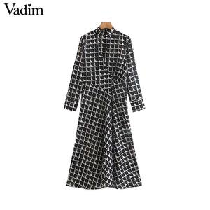 Image 1 - Vadim women elegant black print midi dress long sleeve back zipper office wear female casual mid calf dresses vestidos QC843