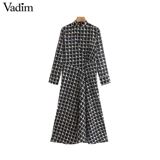 Vadim women elegant black print midi dress long sleeve back zipper office wear female casual mid calf dresses vestidos QC843