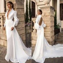 Sodigne винтаж простой сатин свадебное сексуальное платье с
