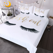 BlessLiving Eyelash Bedding Queen Gold and Black Cute Eyes Pattern Quilt Cover Set 3 Piece Funny