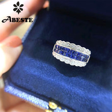 ANI 18K White Gold  Classic Wedding Ring Luxury Square Natural Sapphire for Women Engagement Real Diamond