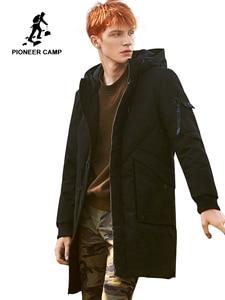 Image 1 - 2018 grosso inverno homens para baixo jaqueta marca roupas com capuz pato quente para baixo casaco masculino comprimento jaqueta preta