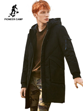 2018 thick winter men down jacket brand clothing hooded warm duck down coat male length black jacket