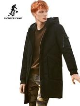 2018 두꺼운 겨울 남성 다운 재킷 브랜드 의류 후드 따뜻한 오리 코트 남성 길이 블랙 재킷