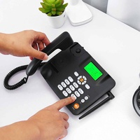 Black Wireless Cordless Telephone GSM Desk Phone SIM Card Mobile Desktop Landline Phone Fixed Telephone SNS Home Office 2G|Telephone Headsets| |  -