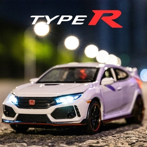 1:32 HONDA CIVIC TYPE-R Diecasts & Toy Vehicles Metal Car Model Sound Light Collection Car Toys For Children Christmas Gift