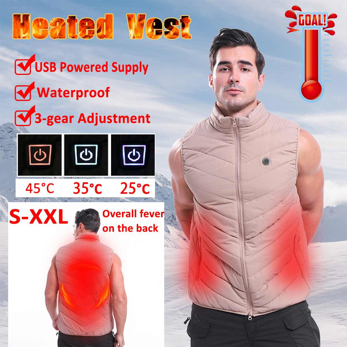 Khaki Men Women Outdoor 3 Speed Thermostat USB Infrared Heating Vest Jacket Winter Electric Thermal Warm Clothing Waistcoat