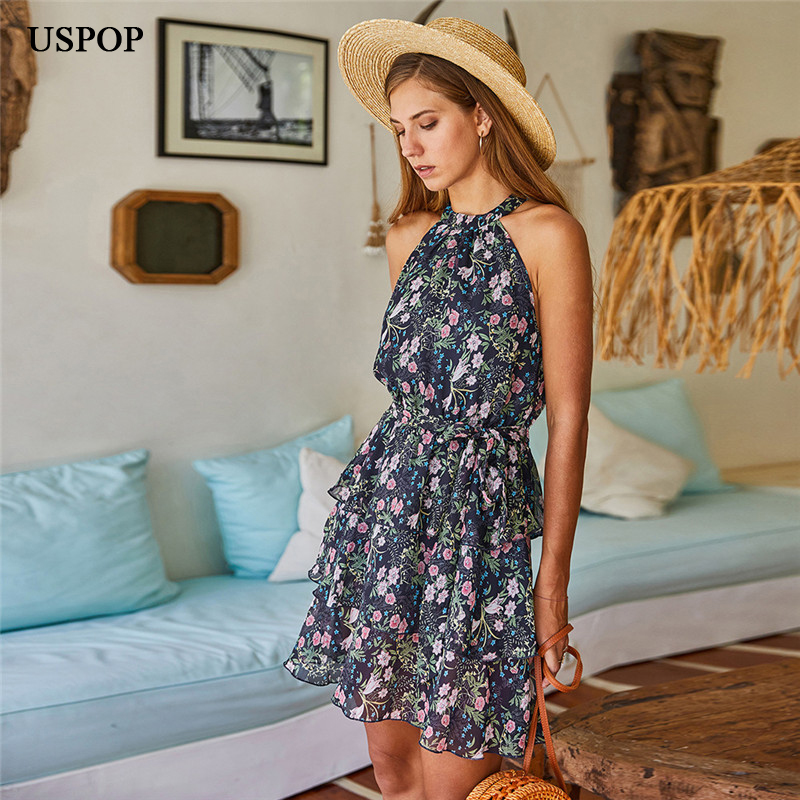 USPOP 2020 New Summer <font><b>halter</b></font> mini <font><b>dress</b></font> <font><b>sexy</b></font> beach A-line chiffon <font><b>dress</b></font> bohemian print beach <font><b>dress</b></font> with sashses image