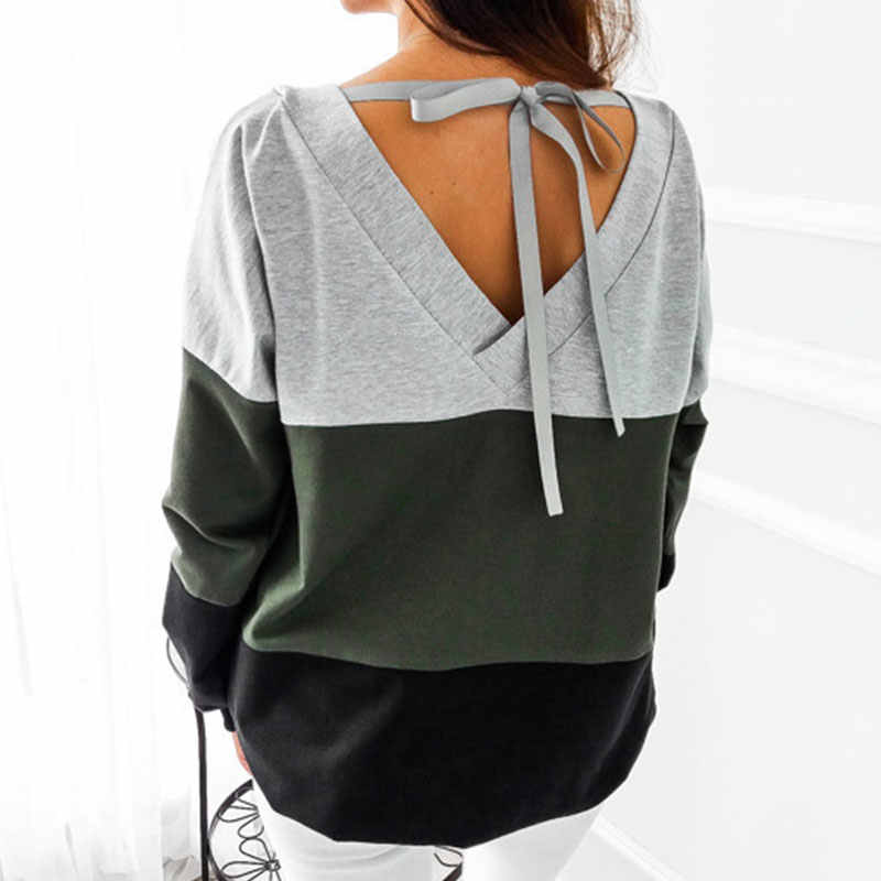 Vogue Patchwork Backless Sweatshirts Frauen Casual Sexy Bogen Lose Hoodies Plus Größe Pullover Weibliche Harajuku Herbst Winter Tops
