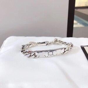Klasyczny urok modne mężczyźni i kobiety czaszka czaszka bicz bransoletka S925 srebro biżuteria luksusowe marki prezent dla par